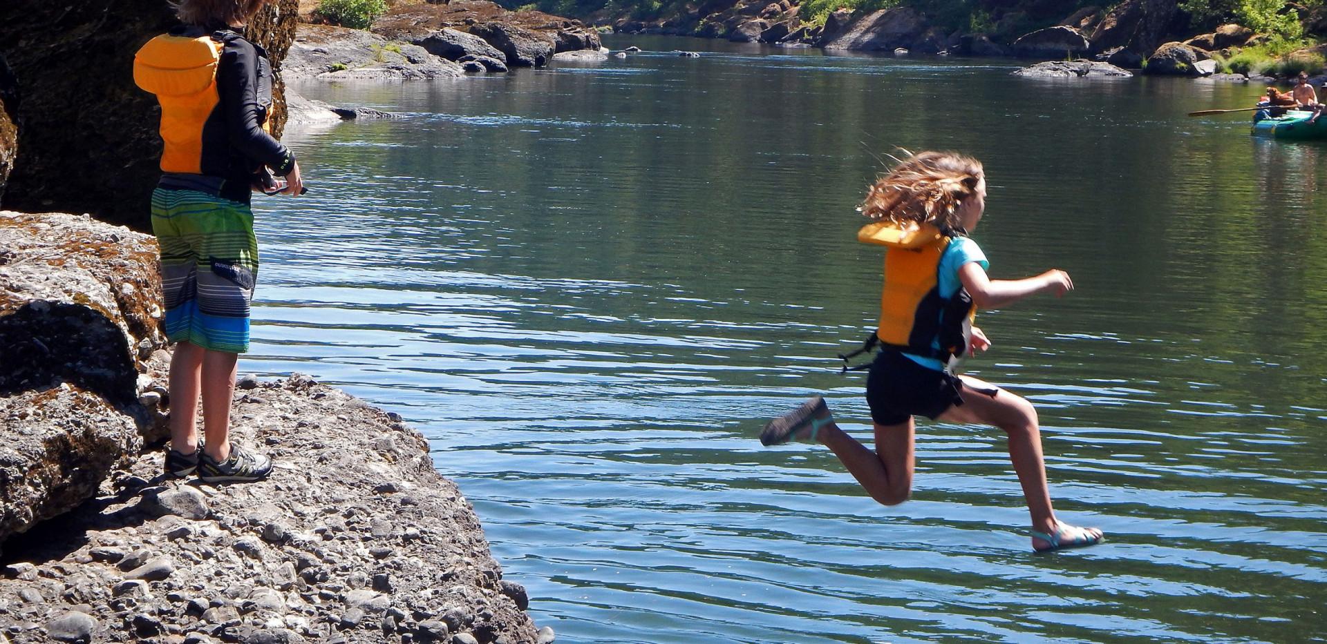 Rogue River Rafting - Oregon Rafting - Rock Jumping - kids