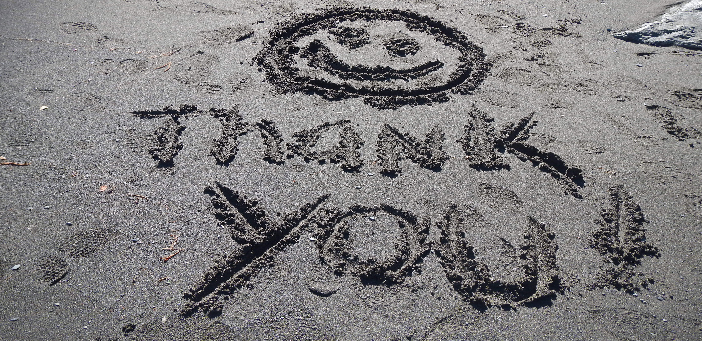 Rafting thank you in the sand